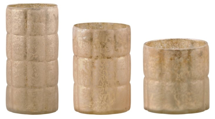 Gray Glass Votives, Asst. of 3