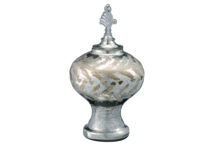 Glass Vase w/ Lid, Silver
