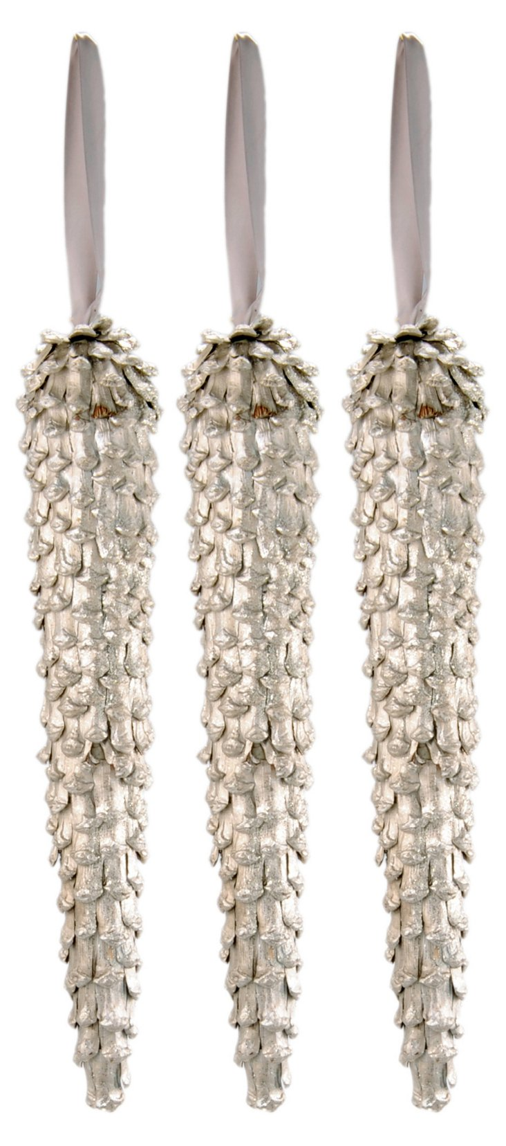 S/3 Thin Silver Icicle Ornaments, Large