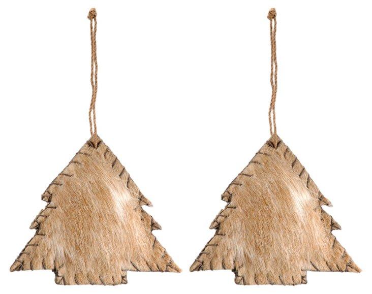 S/2 Cowhide Tree Ornaments