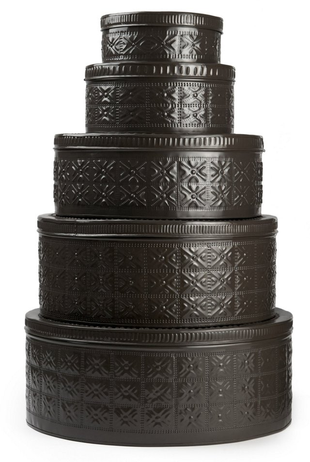 S/5 Assorted Stackable Boxes, Charcoal