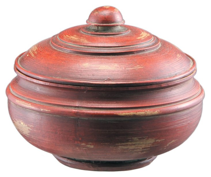 "6"" Red Bowl w/ Cover"