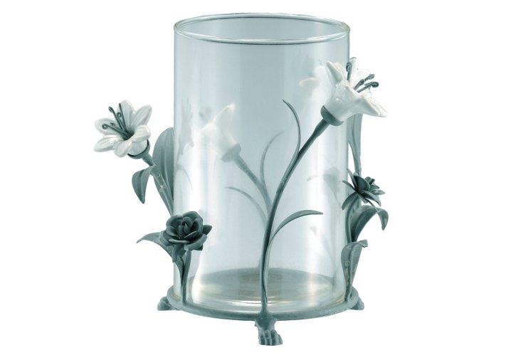 Iron & Glass Floral Hurricane