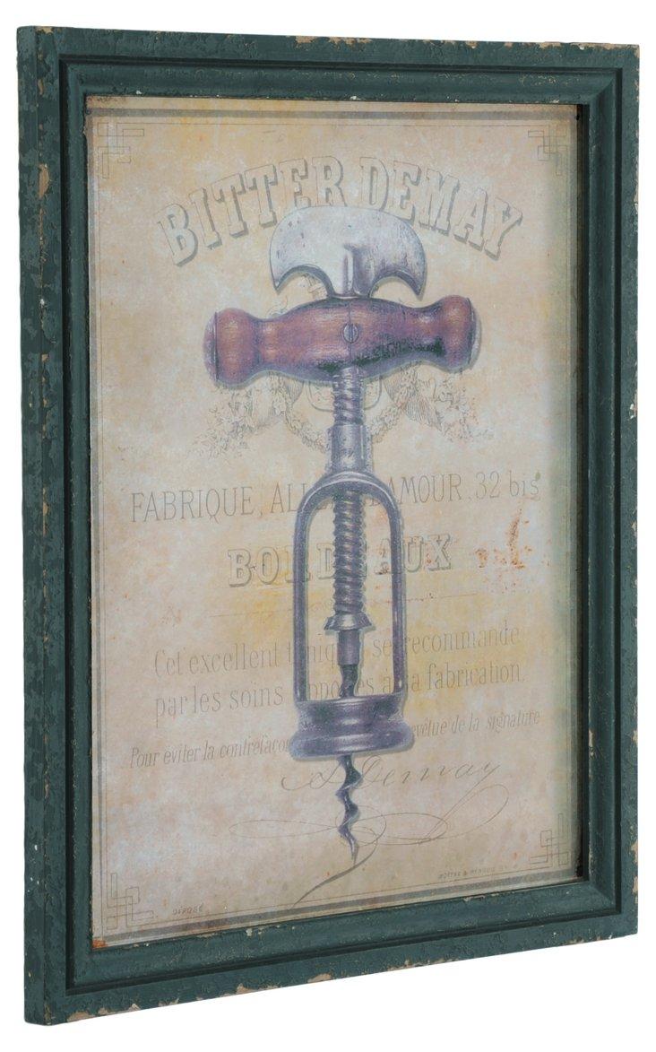 Wood Plaque, Corkscrew
