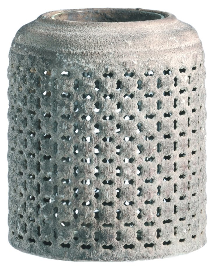 "6"" Metal Perforated Candleholder"
