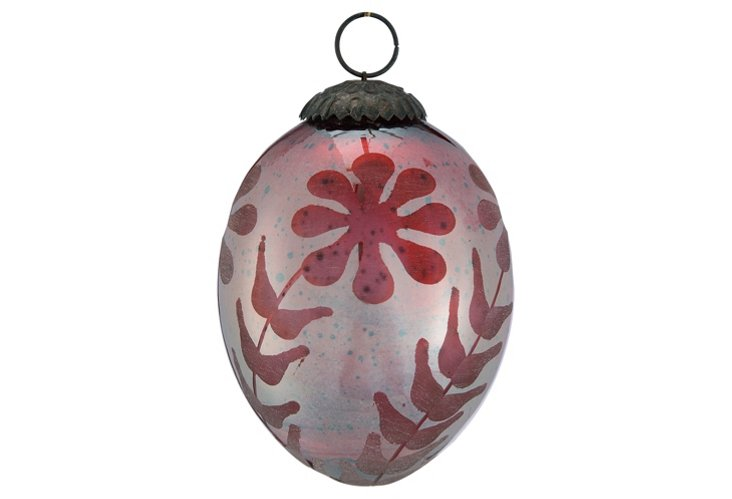 Etched Egg Ornament, Red Silk