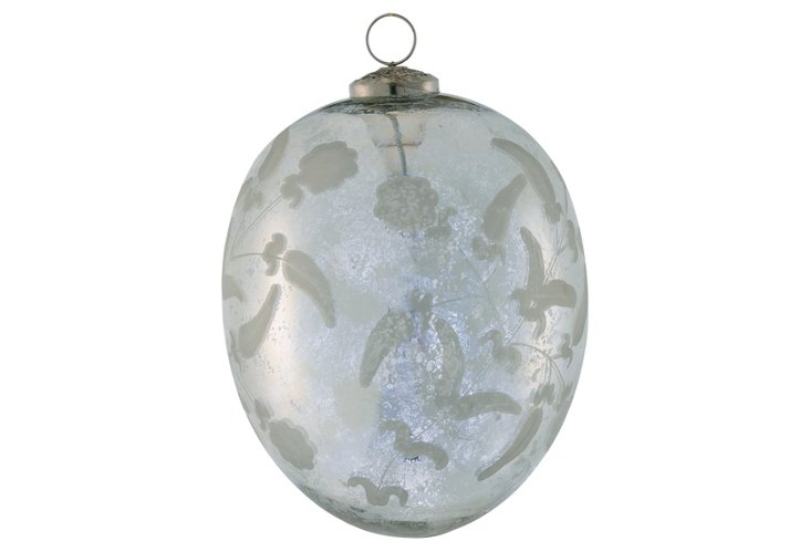 Etched Glass Egg Ornament, XLarge