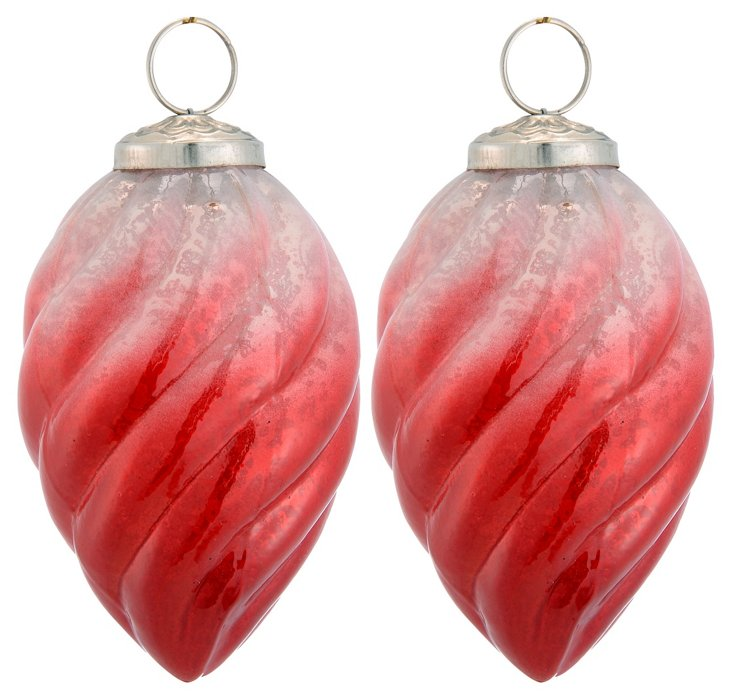 S/2 Glass Drop Ornaments, Red