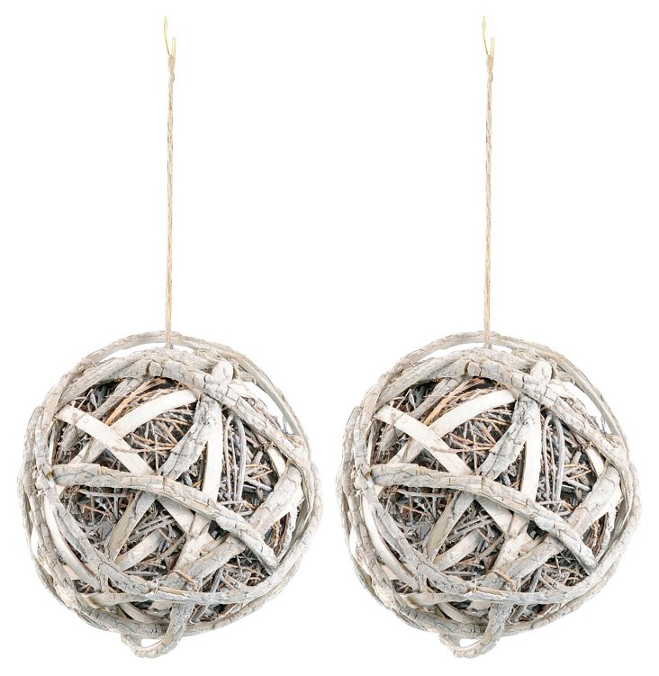 S/2 Twined Sphere Ornaments, Large