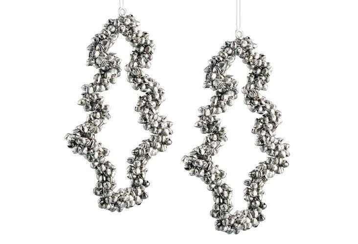 S/2 Tree Ornaments, Silver
