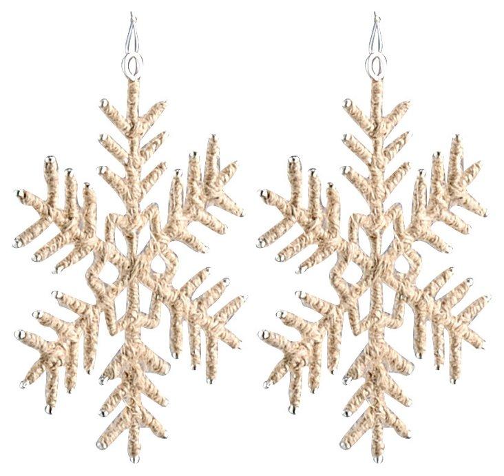 S/2 Jute Snowflake Ornaments