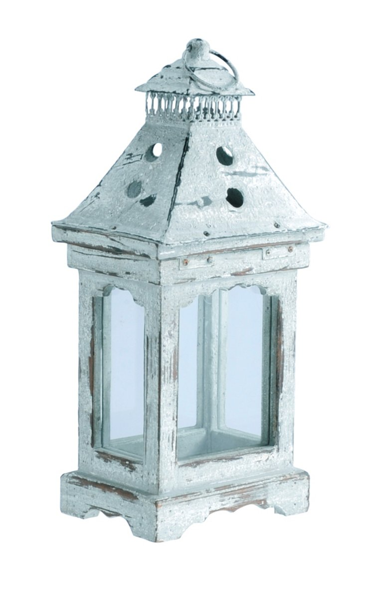 "17"" Distressed Wood & Glass Lantern"