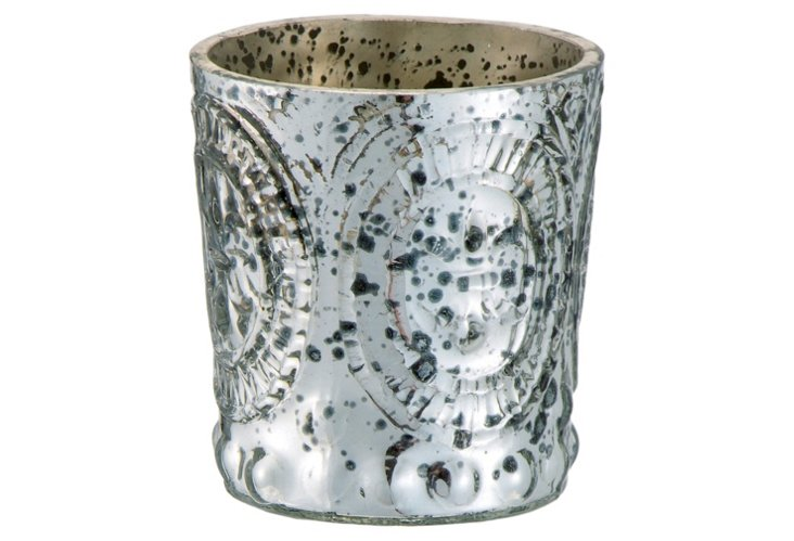 S/4 Antique Glass Votives, Silver