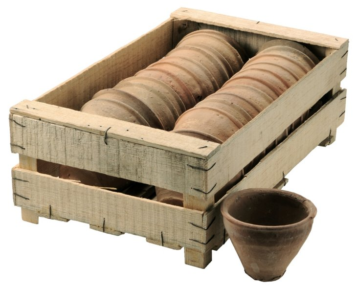 S/24 Mini Clay Pots in Wood Crate
