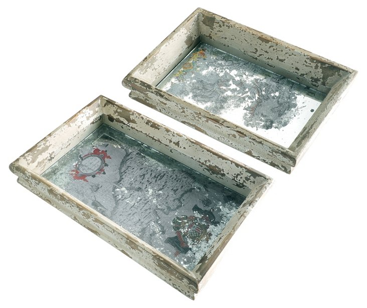 S/2 Wood & Glass Cartographic Trays