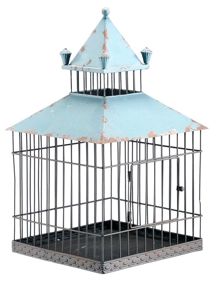 "18"" Iron Birdcage, Antiqued Blue"