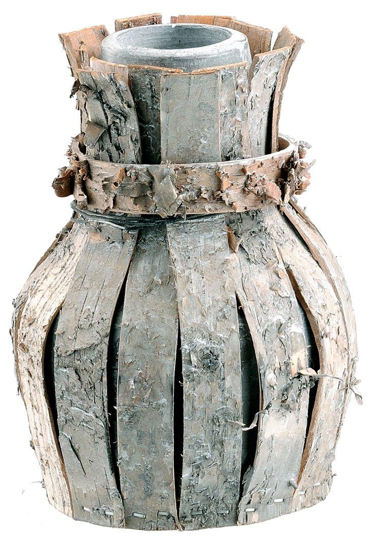 S/2 Birch Bark & Clay Vases