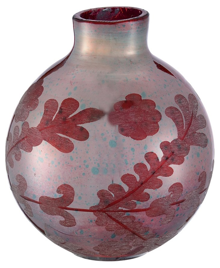 Glass Etched Bud Vase, Silk Red