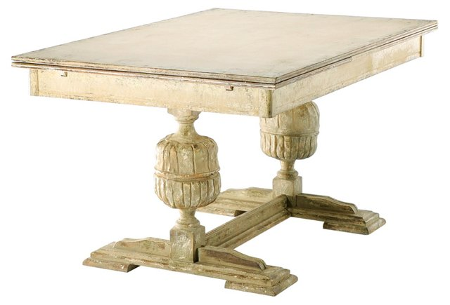James Extendable Dining Table, Distressed White
