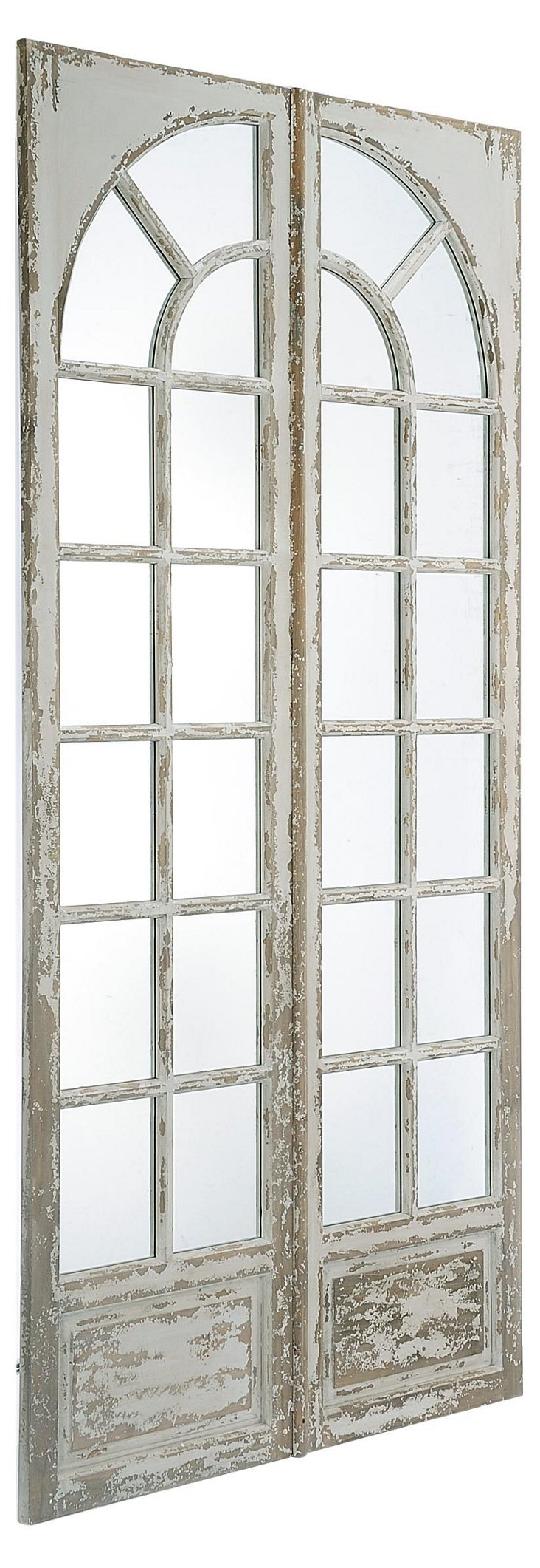 Patio Door Mirror, Distressed White