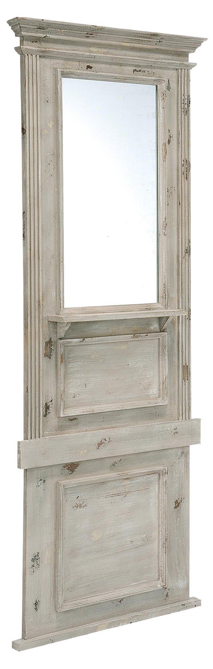 Wright Hall Mirror, Distressed White