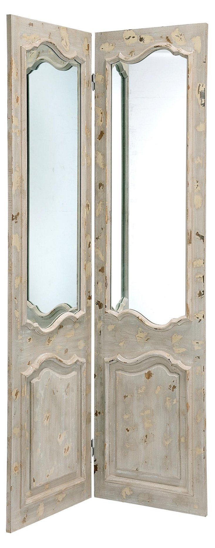 French Door Mirror Screen, Distressed White