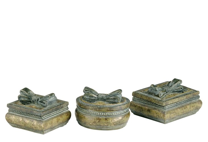 S/3 Distressed Ribbon Boxes