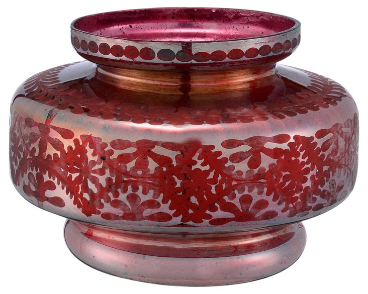 Glass Etched Disc Vase, Silk Red