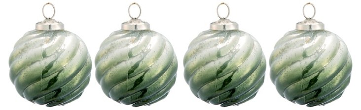 S/4 Glass Ball Green Ornaments, Medium
