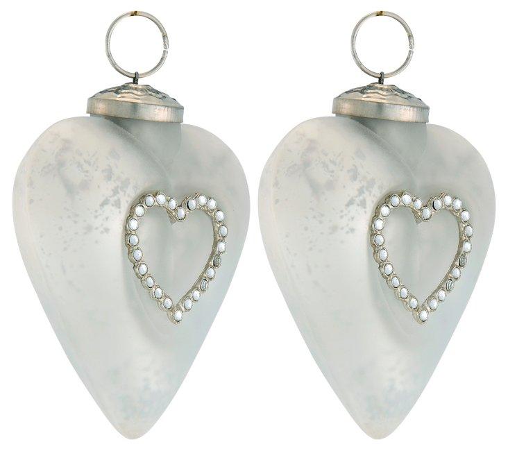 S/2 Heart Ornaments w/ Pearl Rosettes