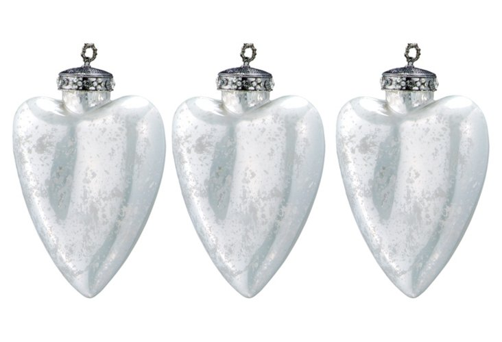 S/3 Glass Heart Ornaments, Large, Ivory