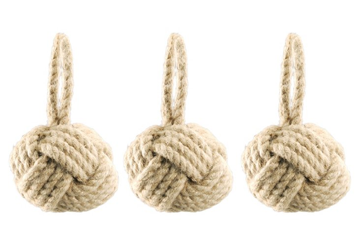 S/3 Medium Jute Knotted Sphere Ornaments