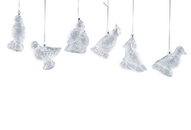 S/6 Glass Bird Ornaments