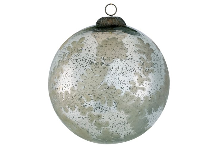 Etched Glass Sphere Ornament, Large