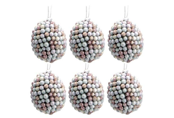 S/6 Glitter Egg Ornaments, Small