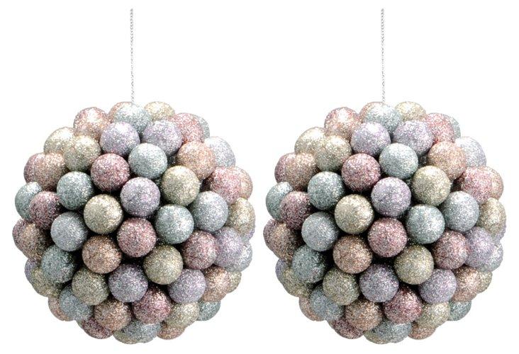 S/2 Glitter Sphere Ornaments, Medium
