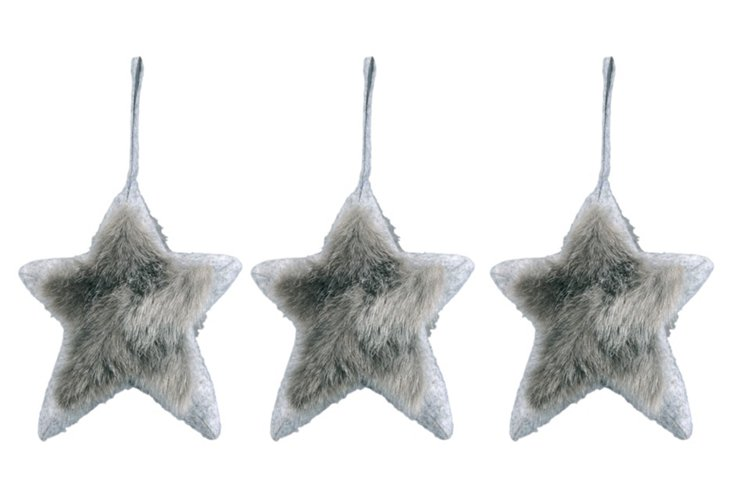 S/3 Faux Fur Star Ornaments, Small