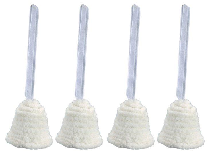 S/4 Velvet Bell Ornaments, Ivory