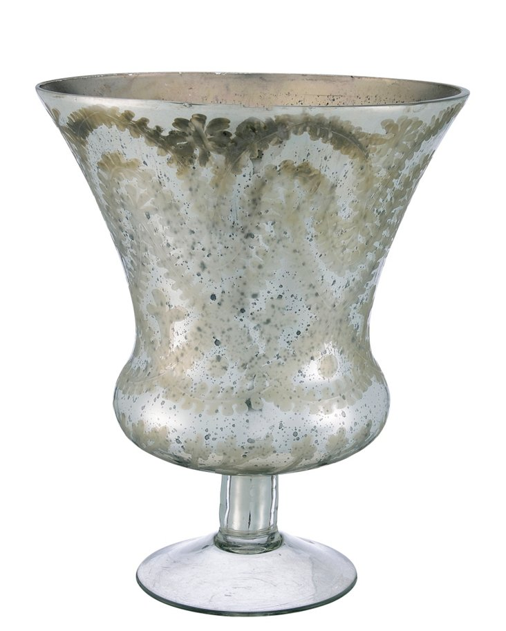 Glass Etched Flared Vase, Silver