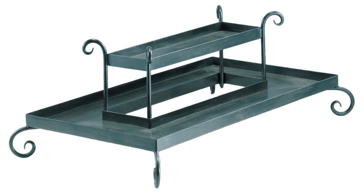 Iron Two Tiered Rectangular Tray