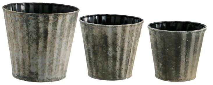 S/3 Zinc Scalloped Pots, Moss Green