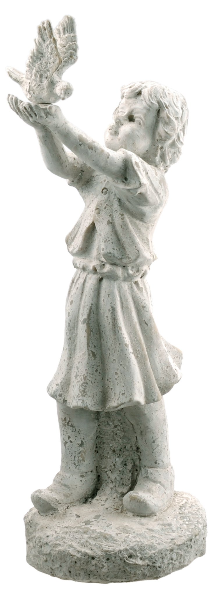 Terracotta Girl w/ Bird Statue