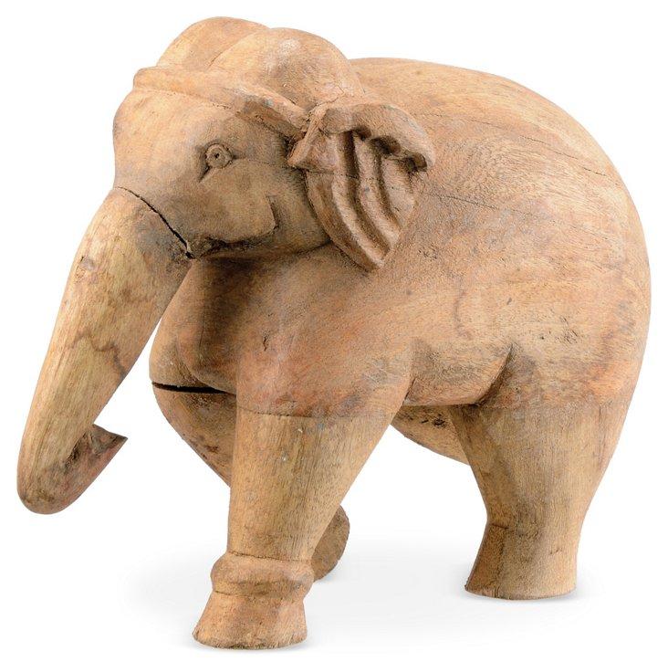 "10"" Wood Elephant Objet, Brown"