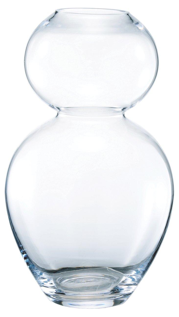 "16"" Glass Hourglass Vase"