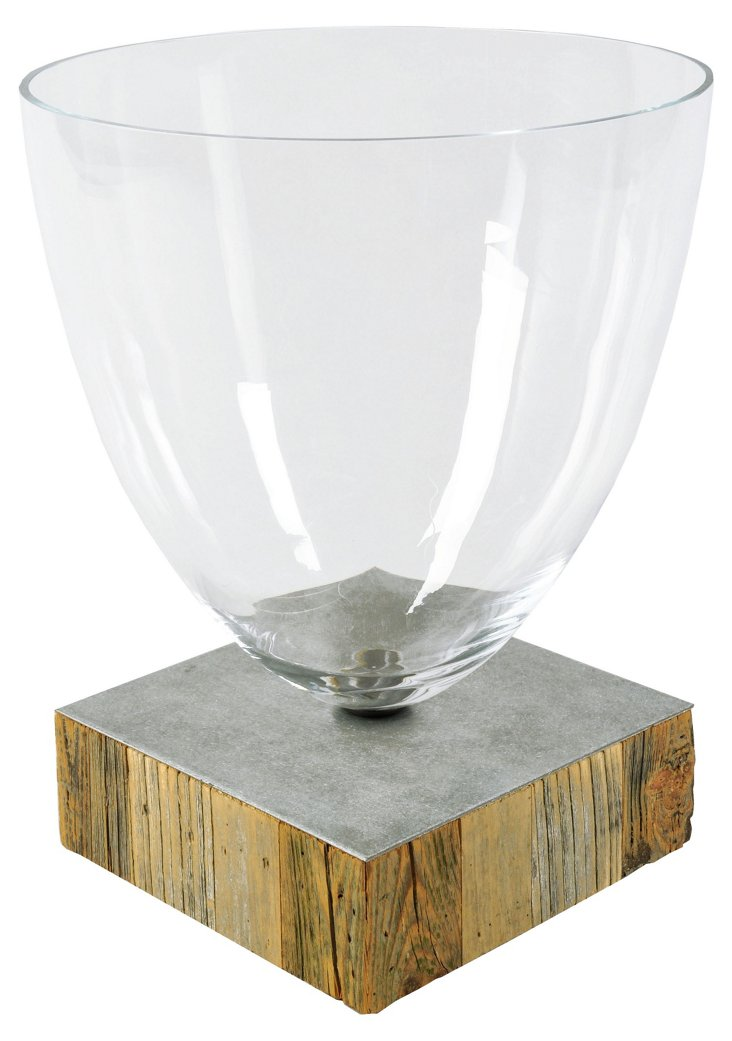 "17"" Glass Vase on Wood Base"