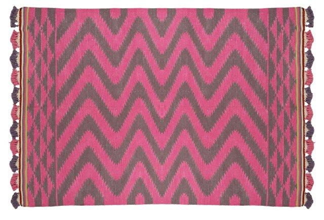 4'x6' Aspara Pompom Dhurrie, Pink/Gray