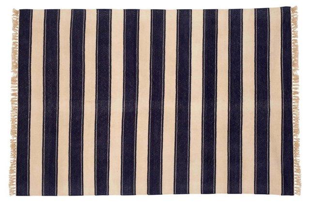 Rama Stripe Dhurrie, Navy/White