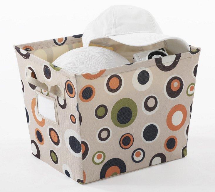 Small Bucket w/ Label ID, Brown Dots