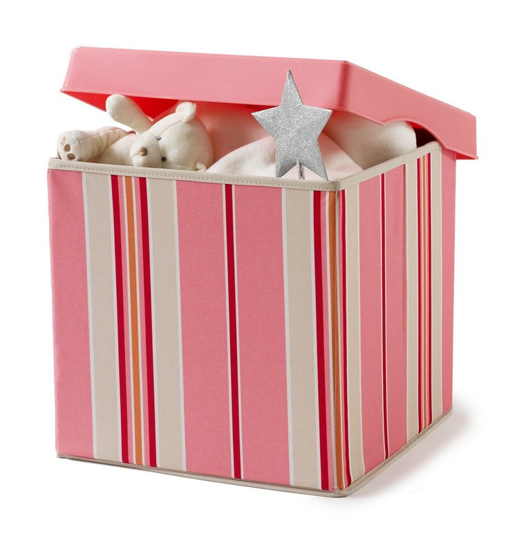 Hard Lid Storage Box, Pink Stripes