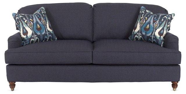 "North 82"" Cotton Sofa, Navy"